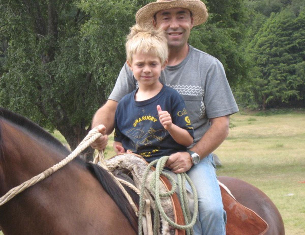 Augusto Achibueno on a horse